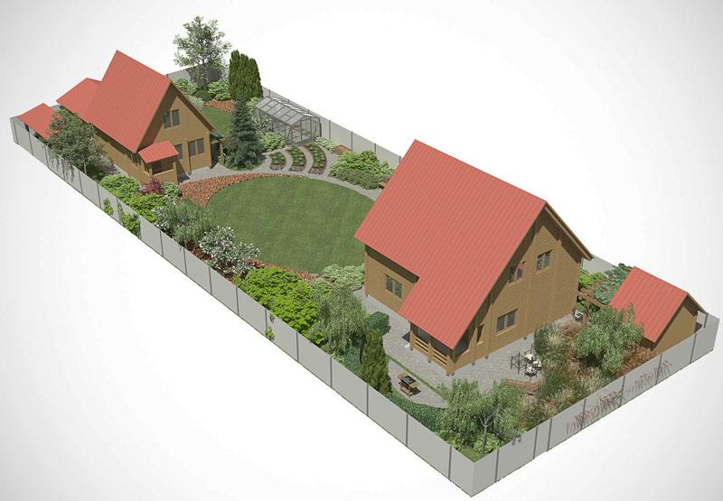 Ландшафтный дизайн узкого дачного участка фото проекты